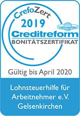 Zeigt das Zertifikat von Lohnsteuerhilfeverein Bonitätszertifikat Crefozert 2020 160px breit.