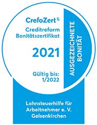 Crefozert 2021 für die Lohnsteuerhilfe Online - das Zertifikat im Bild.